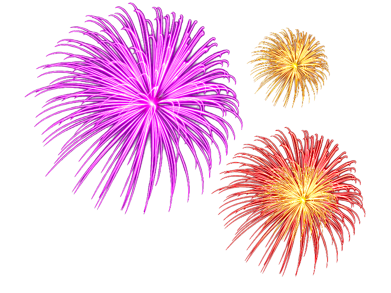 New year fireworks png. Isolated objects textures for