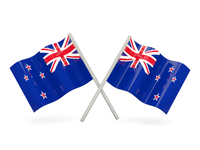New zealand flag png. Two wavy flags illustration