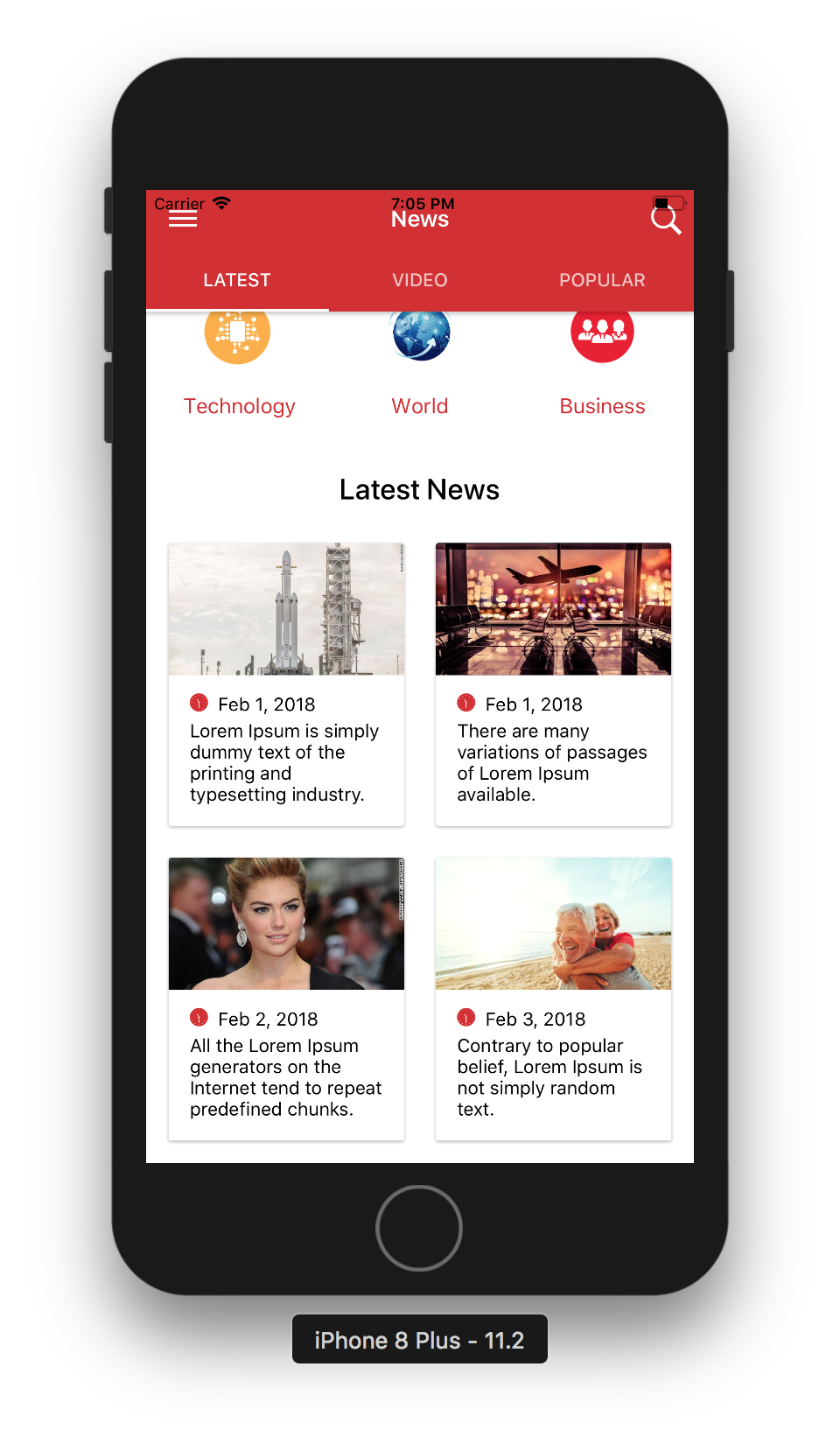 News template png. Multipurpose app ui ionic