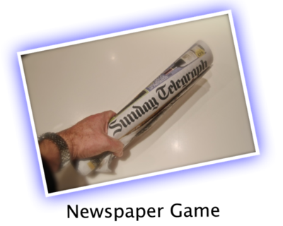 Newspaper rolled up png. Party game from bestpartygames