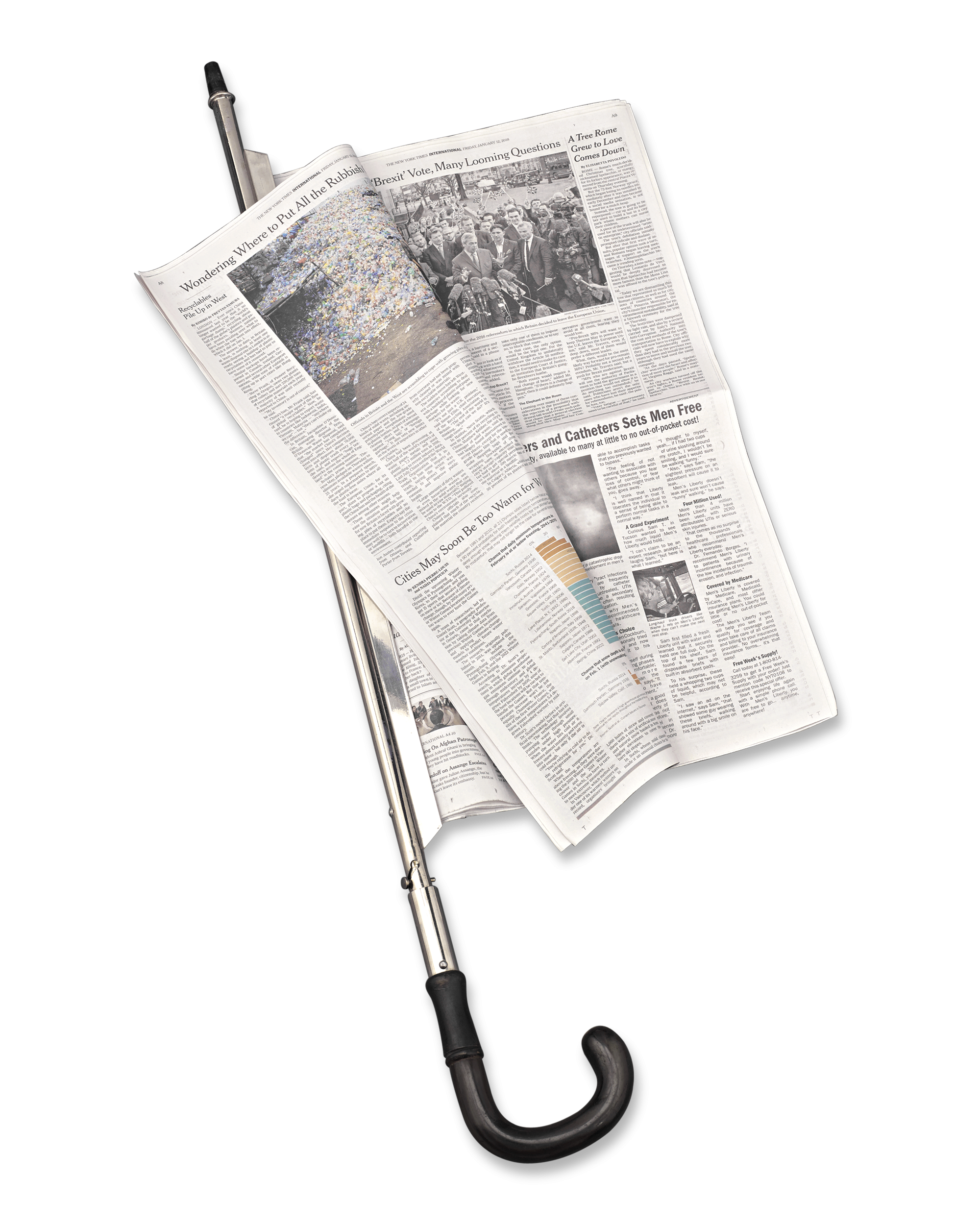 Newspaper rolled up png. Holder cane canes antiques