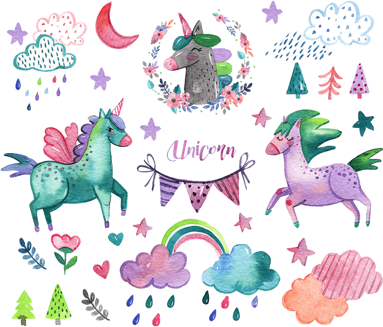 Nicorn clipart watercolor. Download unicorn elements png