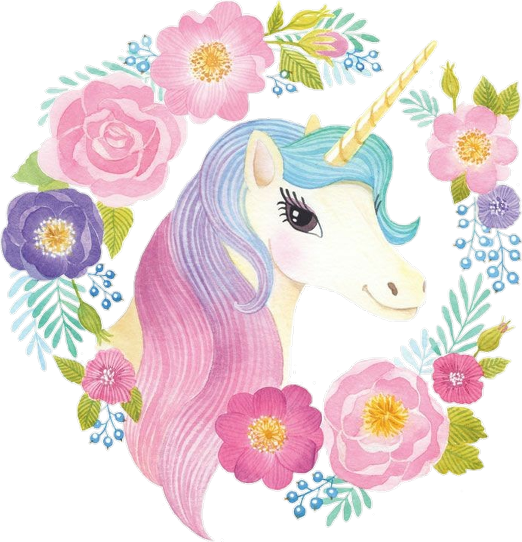 Nicorn clipart watercolor. Spring unicorn cute colorful