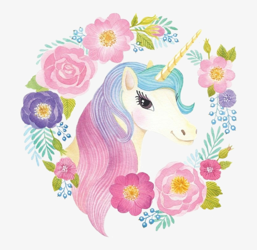 Nicorn png colorful. Spring unicorn cute watercolor