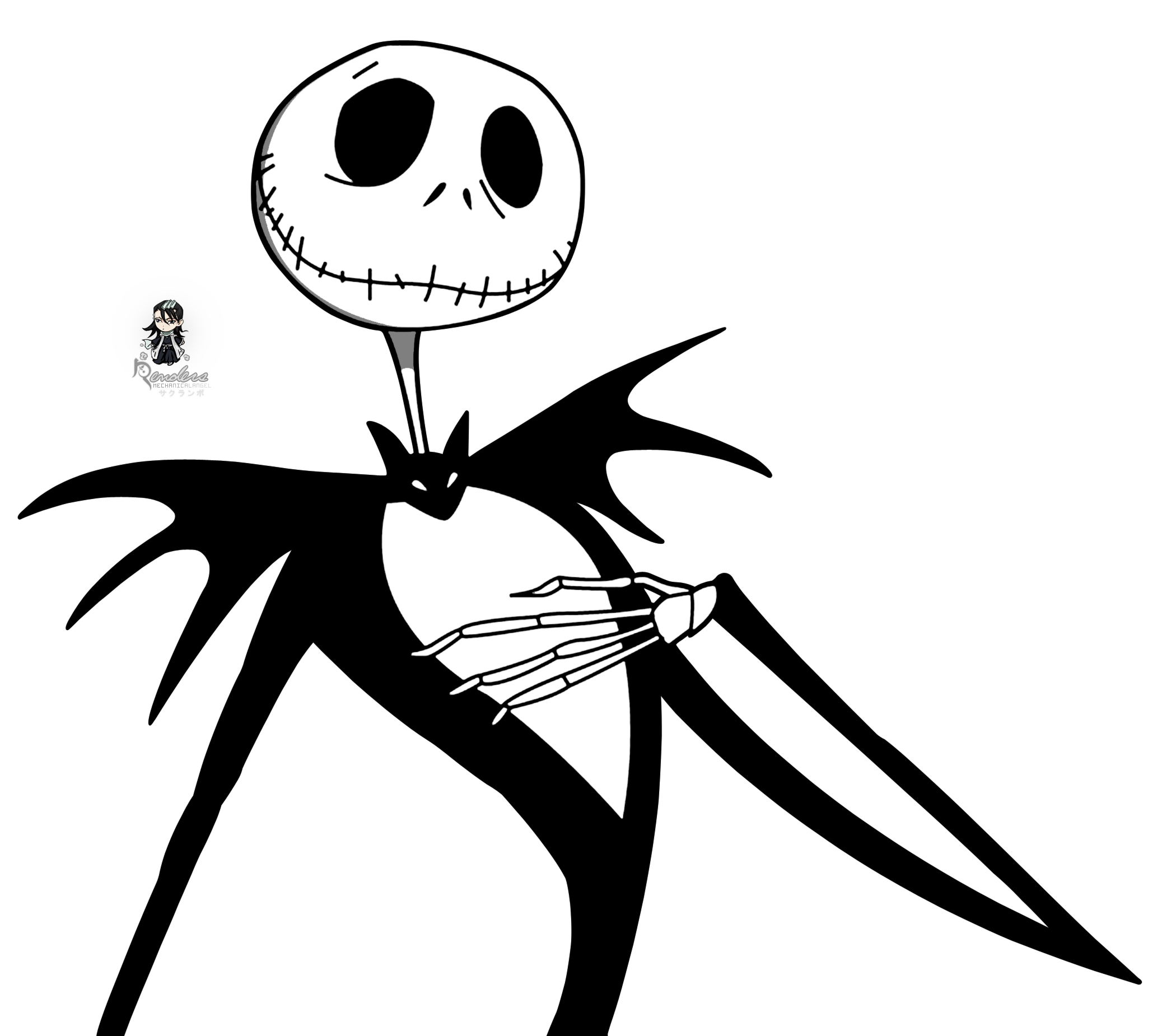 Nightmare before christmas night shade labels black and white png. Silhouette render the jack