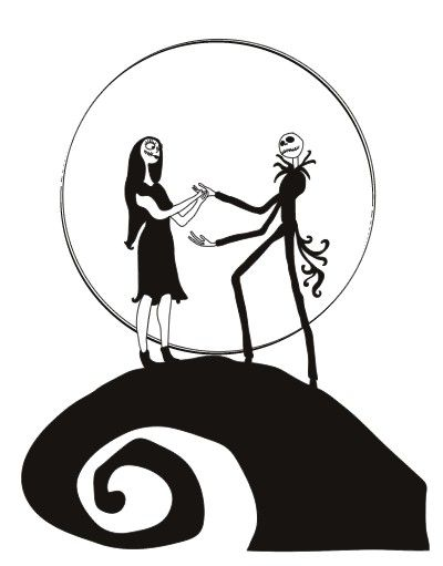 Nightmare before clipart silhouette. Jack and sally at