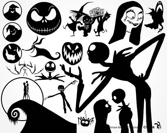 Nightmare before clipart silhouette. Christmas svg jack files