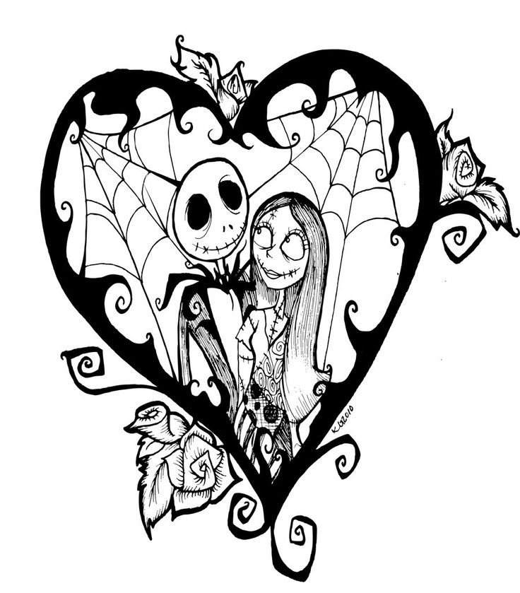 Nightmare before clipart tattoo. Jack and sally drawings
