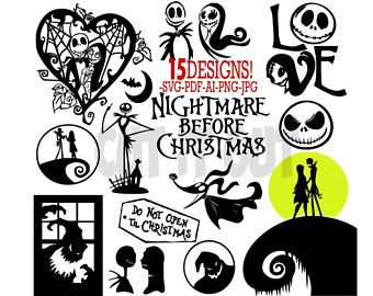Nightmare before clipart vector. The christmas set of