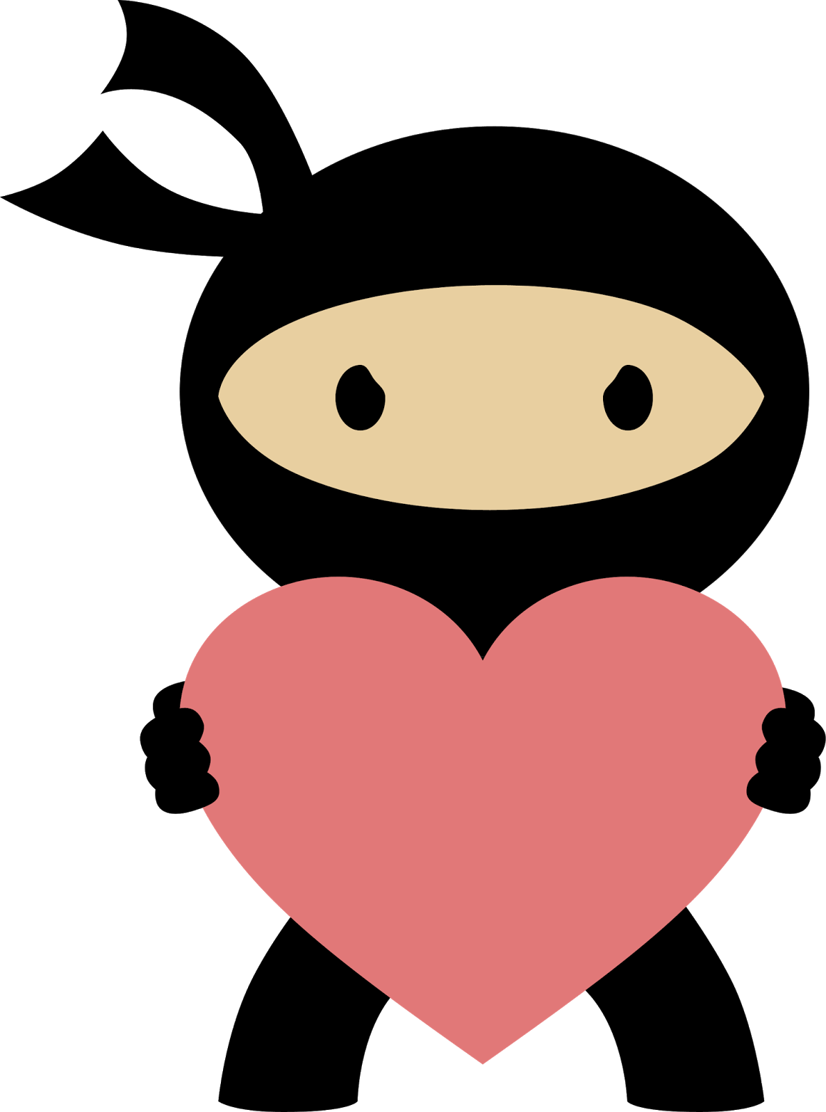 Relax clipart cute. Ninja in love painted