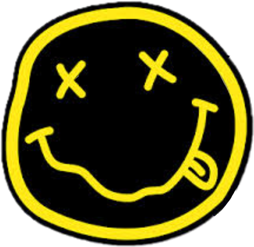 Nirvana smiley face png. Yellow rad music stickers