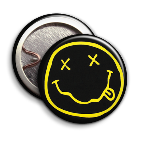 Nirvana smiley face png. Parody badges