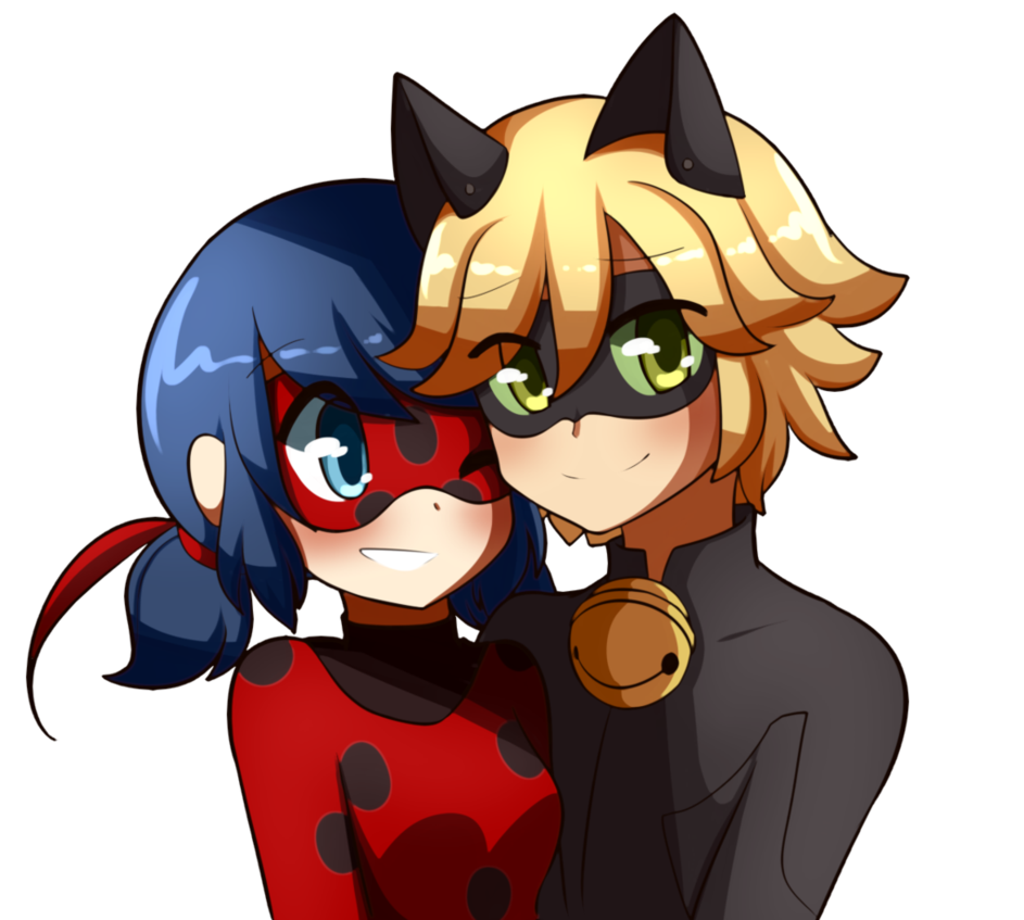 Noir drawing cartoon film. Ladybug and chat by