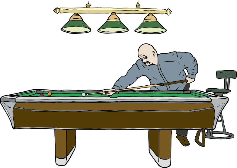 Noir drawing pool player. Clipart table with medium
