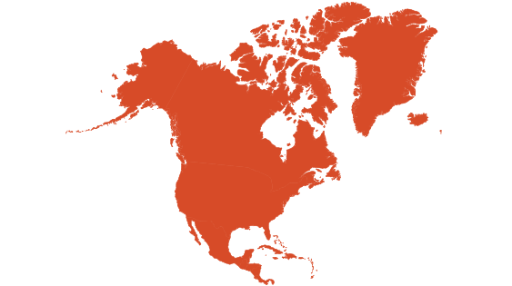 North america continent png. How many countries are