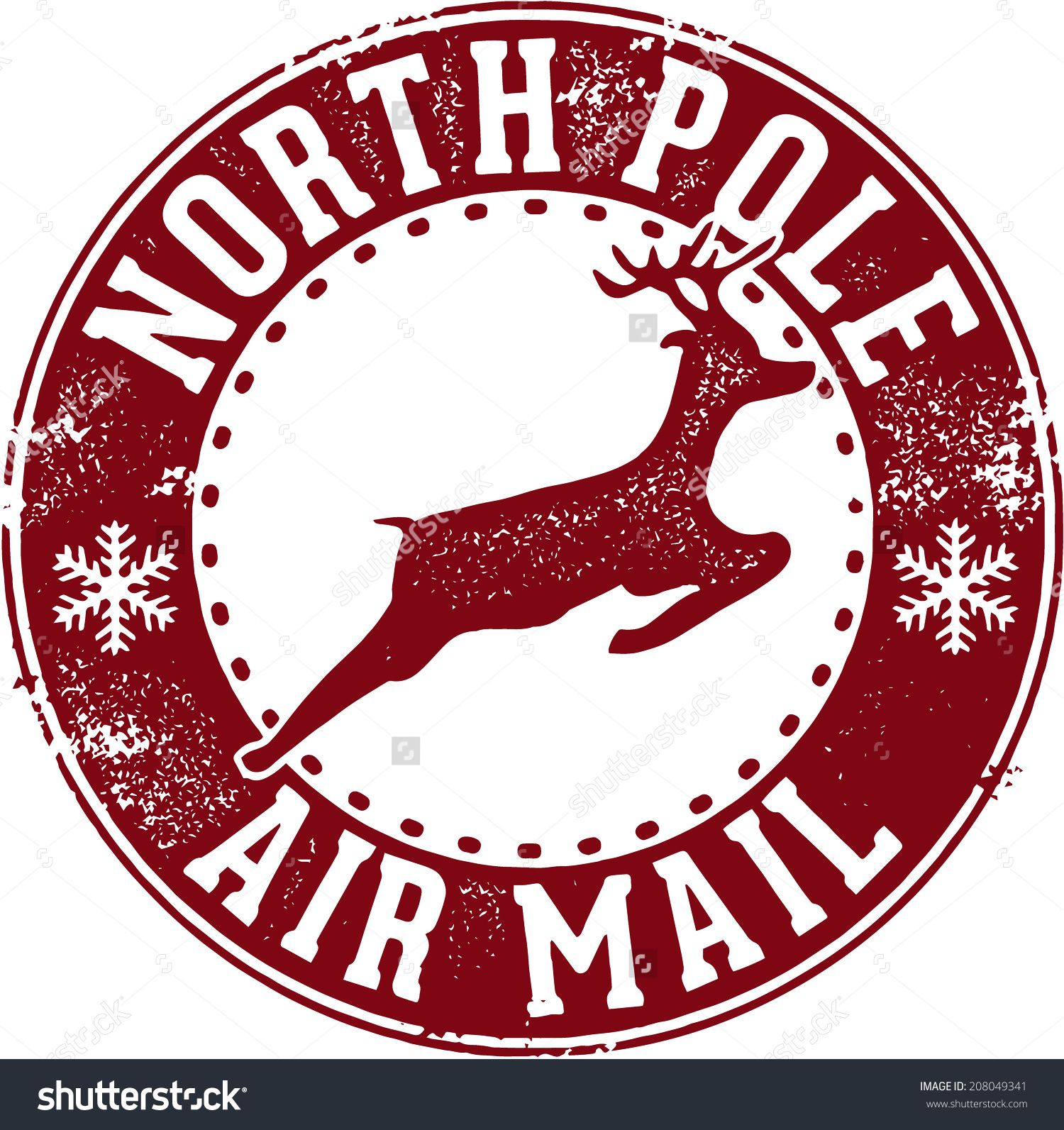 North pole air santa. Stamp clipart christmas mail clipart freeuse download