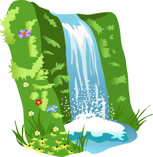 Vector hills countryside. Scenery cliparts animated waterfall