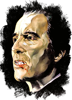 Christopher lee legendary star. Nosferatu drawing ink vector black and white stock