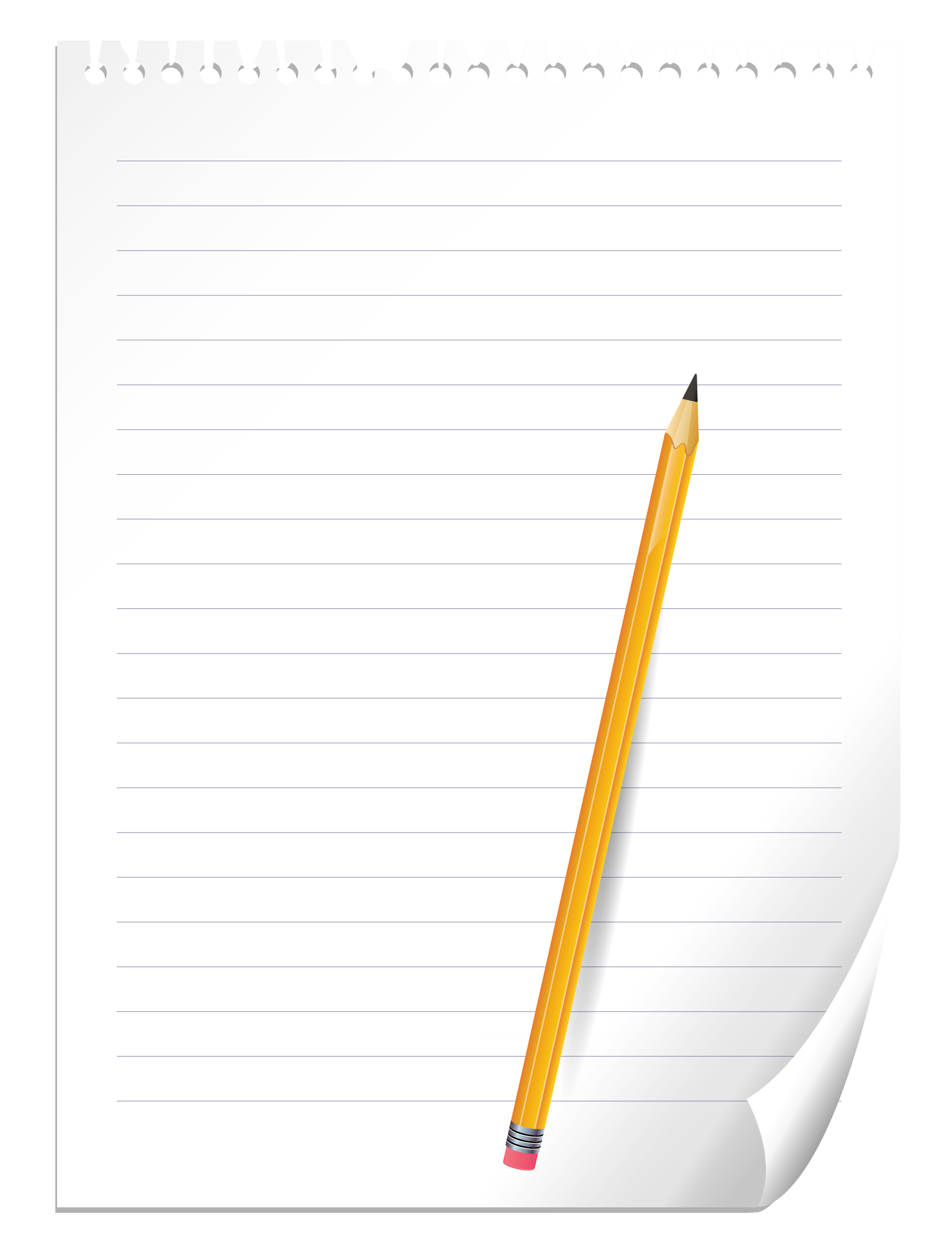 Note book paper png. Pencil and notebook clipart