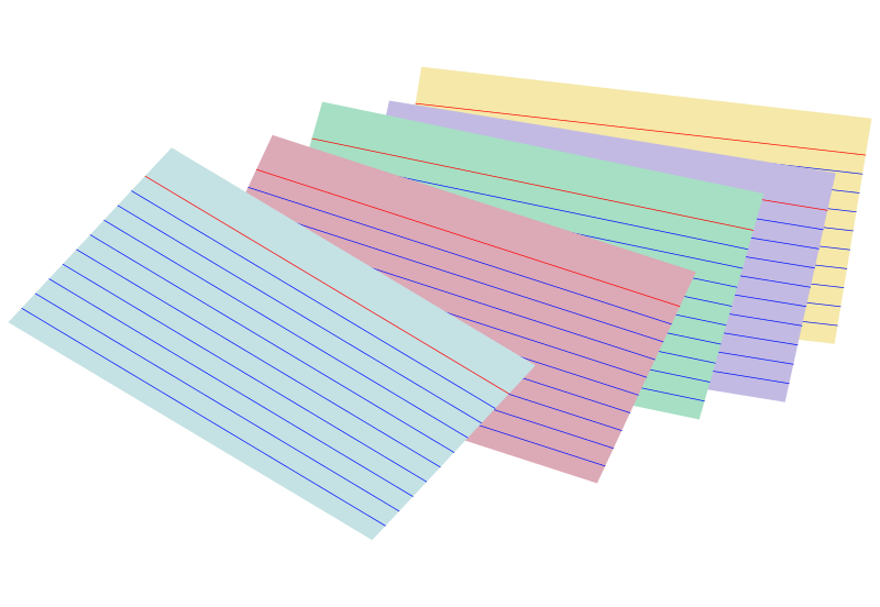 Note card png. Clipart stack of colored