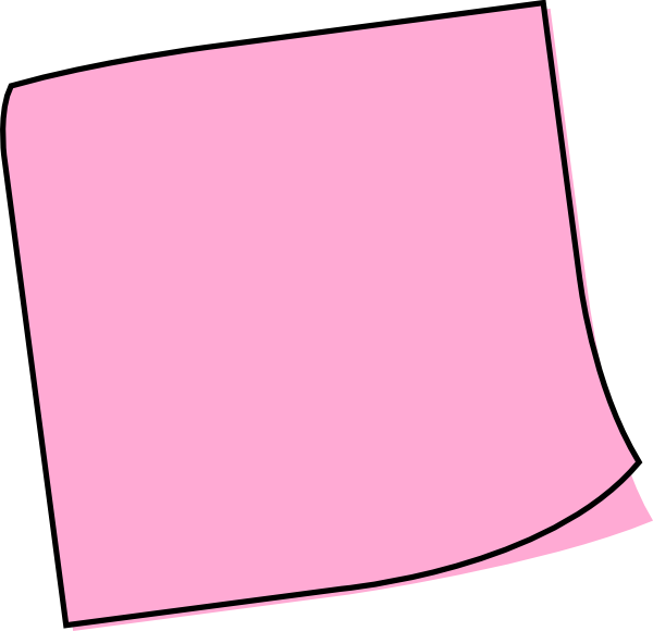 Postit vector sticky note. Pink clip art at