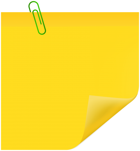 Note paper with paperclip png. Yellow sticky free images