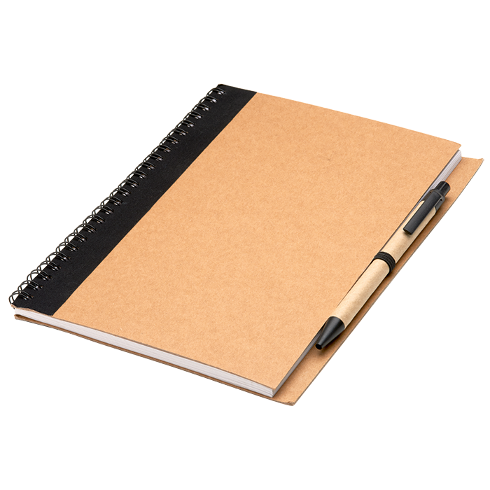 Notebook and pen png. Colour accented spiral with