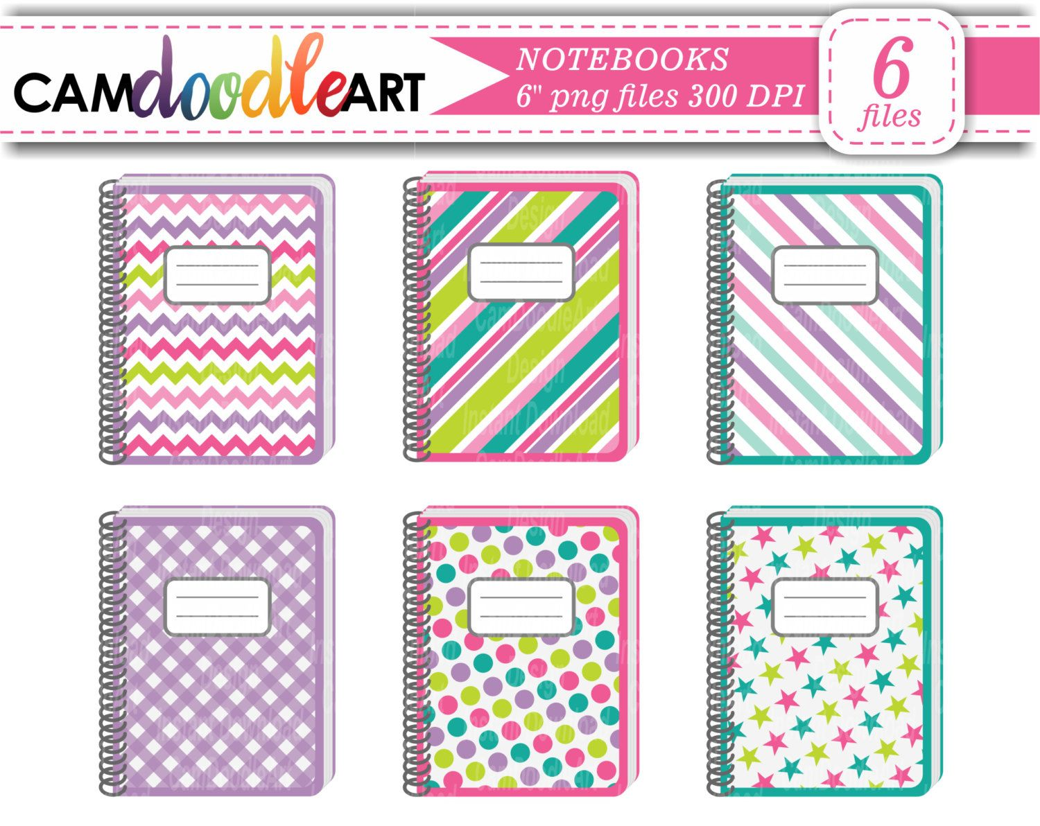 Notebook clipart pink notebook. Notebooks collection green purple