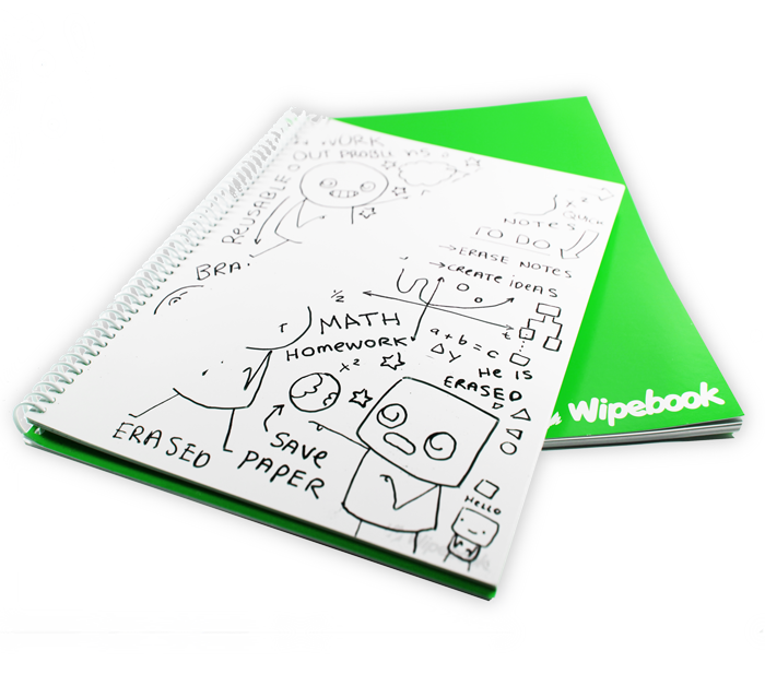 Notebook transparent clear cover. Wipebook reusable erasable whiteboard