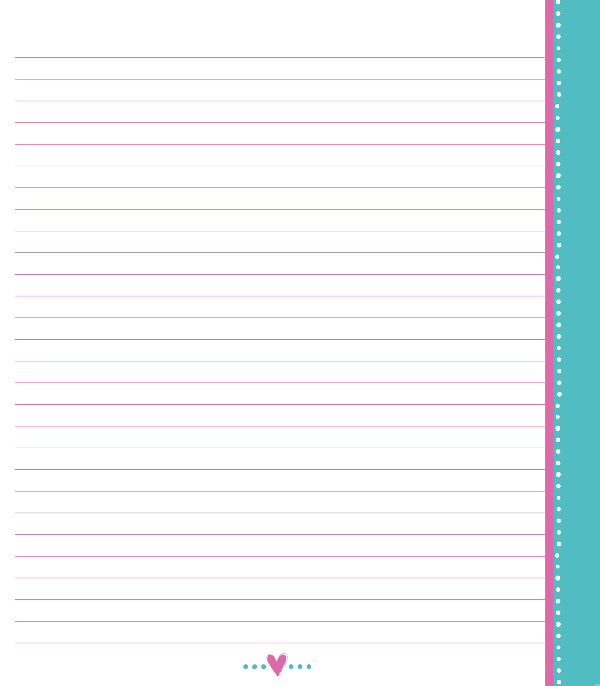 Notebook page png. Pepto pink with teal