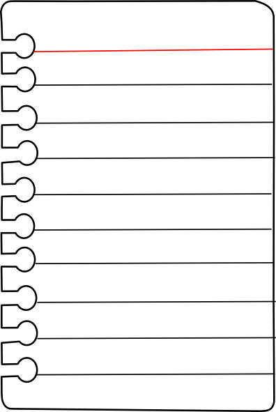 Spiral notebook page png. Paper clipart