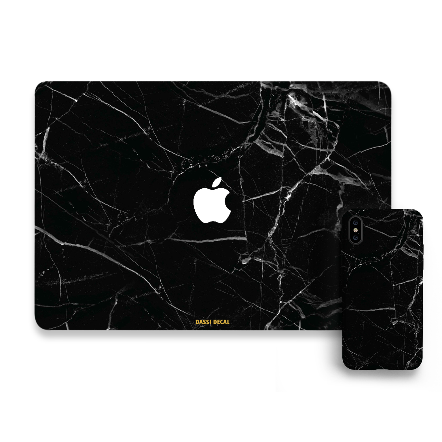 Notebook transparent marble. Black dassidecal iphone bundle