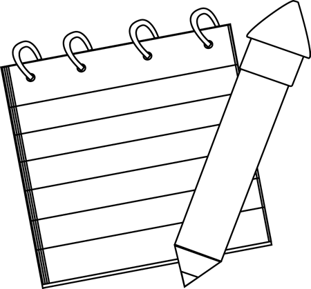 Notepad clipart diary pen. Black and white detective
