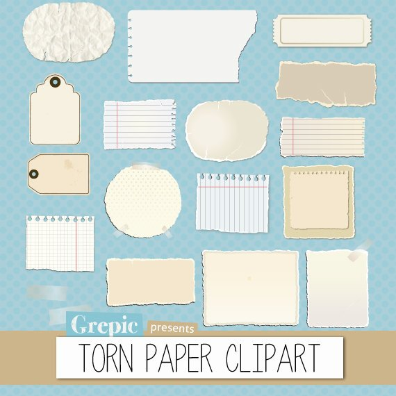 Notes clipart piece paper. Torn pack with pieces