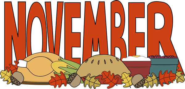 October clipart monthly. Month of november