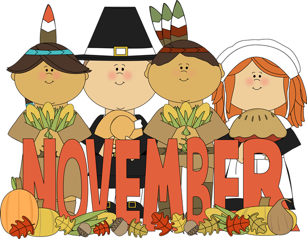 November clipart. Month of pilgrims and