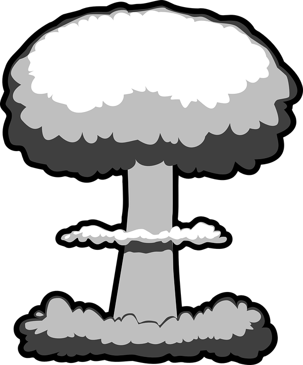 Nuclear drawing cartoon. Collection of free detonated