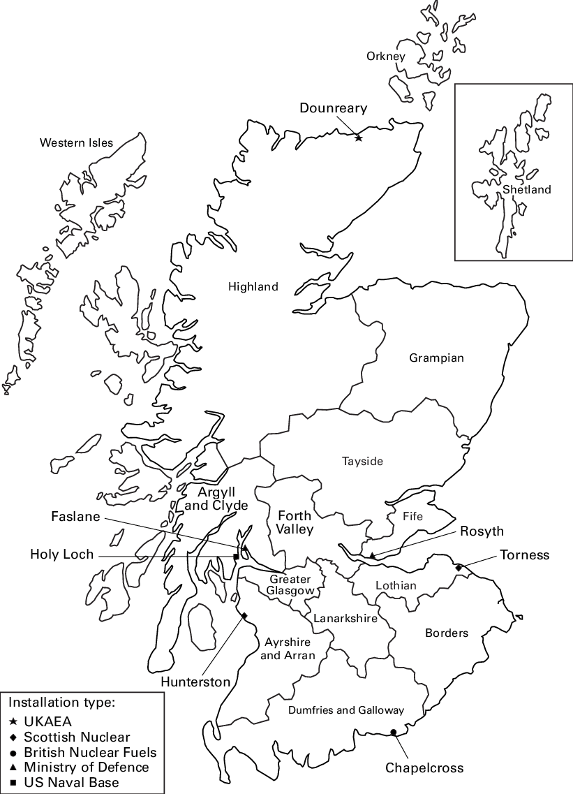 Nuclear drawing line. Locations of sites and
