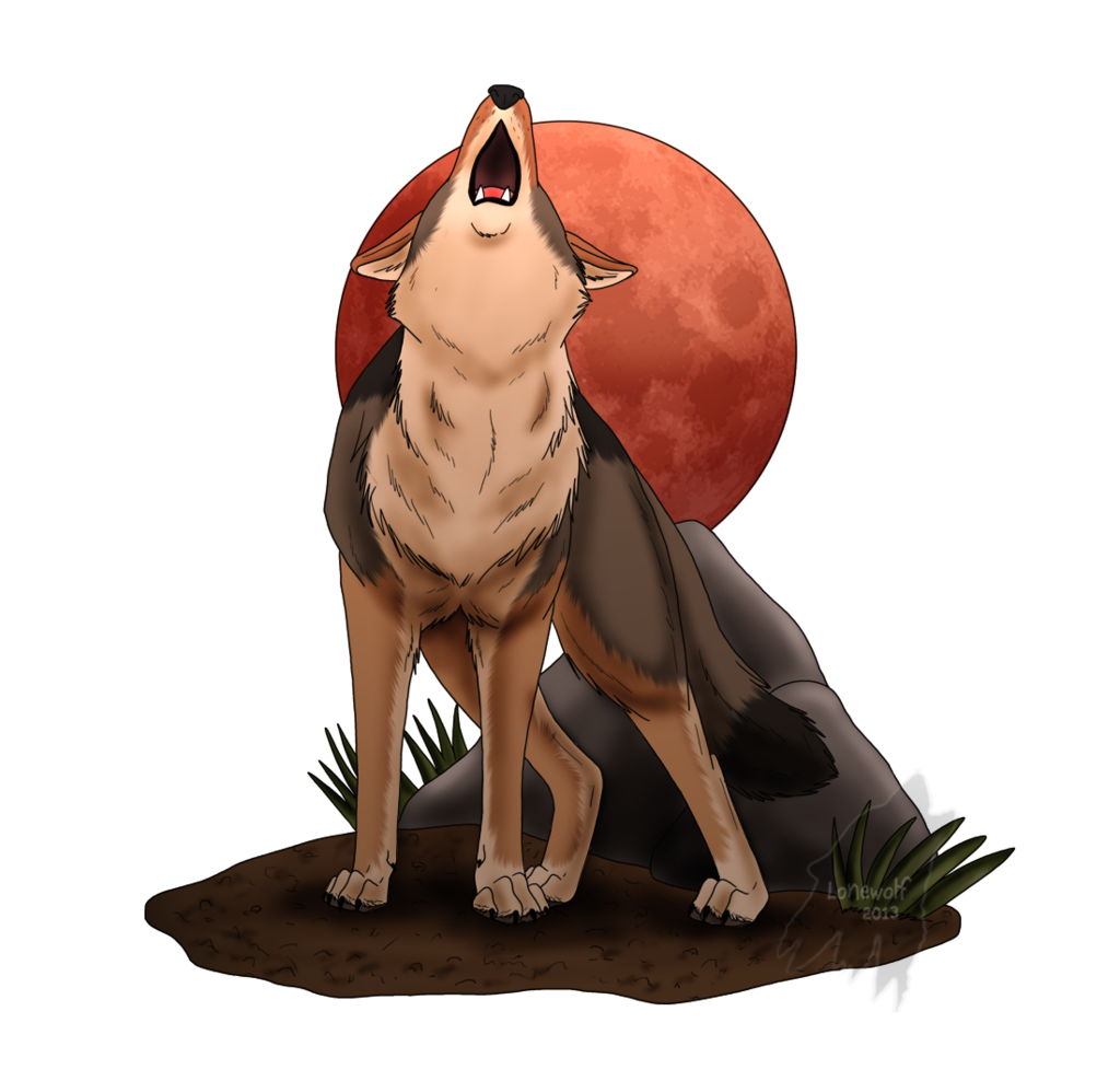 Nuclear drawing lone wolf. Red moon howl by