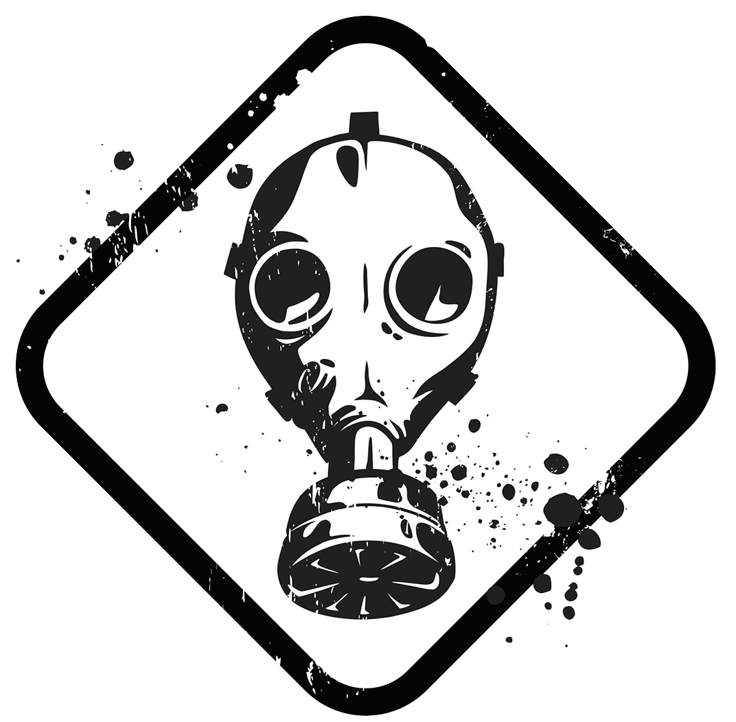 Radiation drawing gas mask. Dog cat paws down