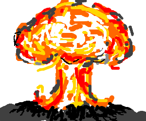 Transparent explosions mushroom cloud. Drawn pencil and in