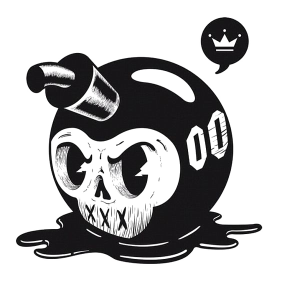 Nuclear drawing skull. Smoke bomb explosion weapon