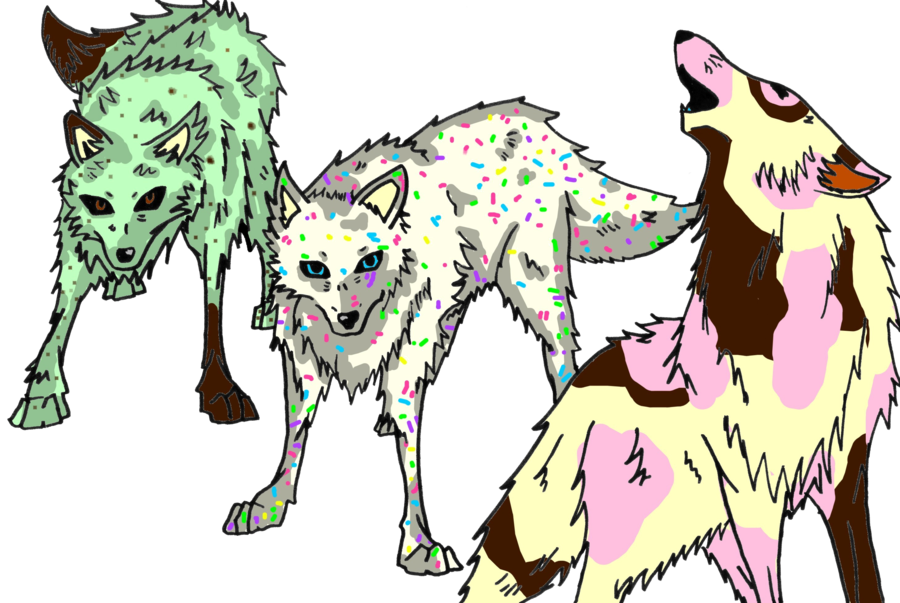 Nuclear drawing wolf pack. Ice cream by lucifeepansy