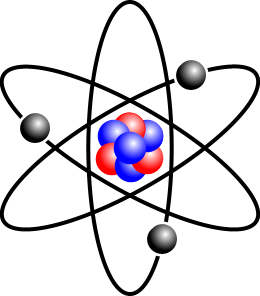 Nucleus transparent atom. File stylised with three