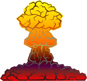 Nuclear drawing mushroom cloud. Weapon explosion bomb power