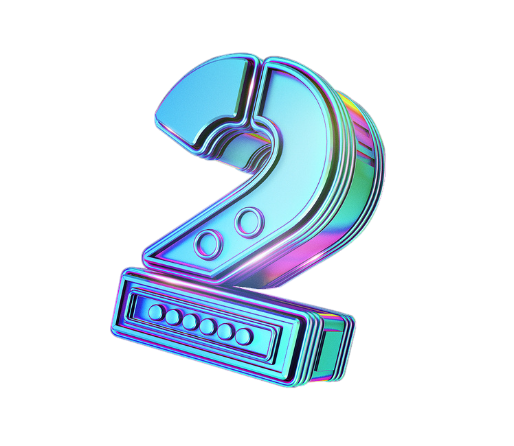 Number 2 3d png. D sticker by