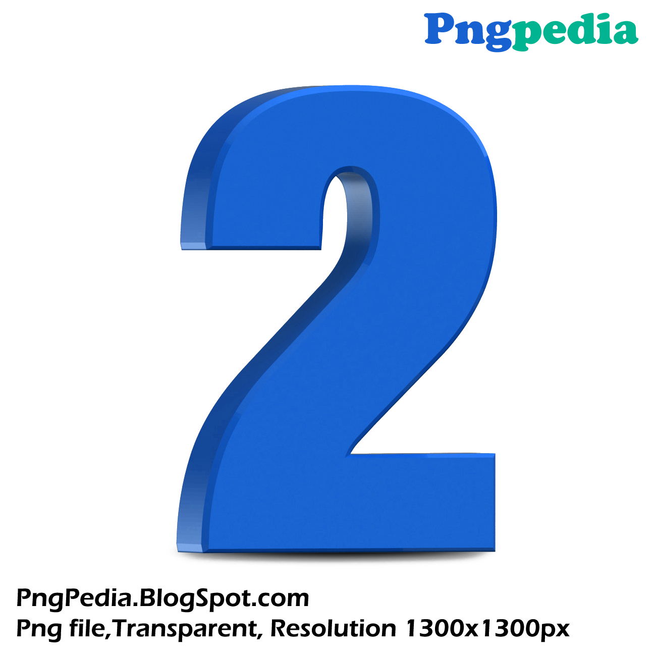 Number 2 3d png. Blue d numbers set