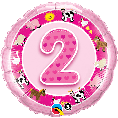 Number 2 birthday png. Age pink farm animals