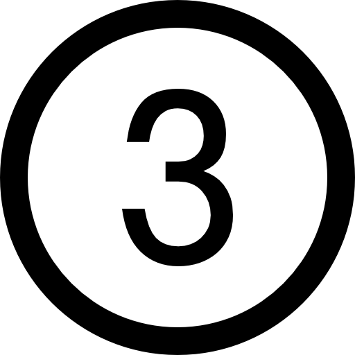 Number 3 icon png. Three in a circle