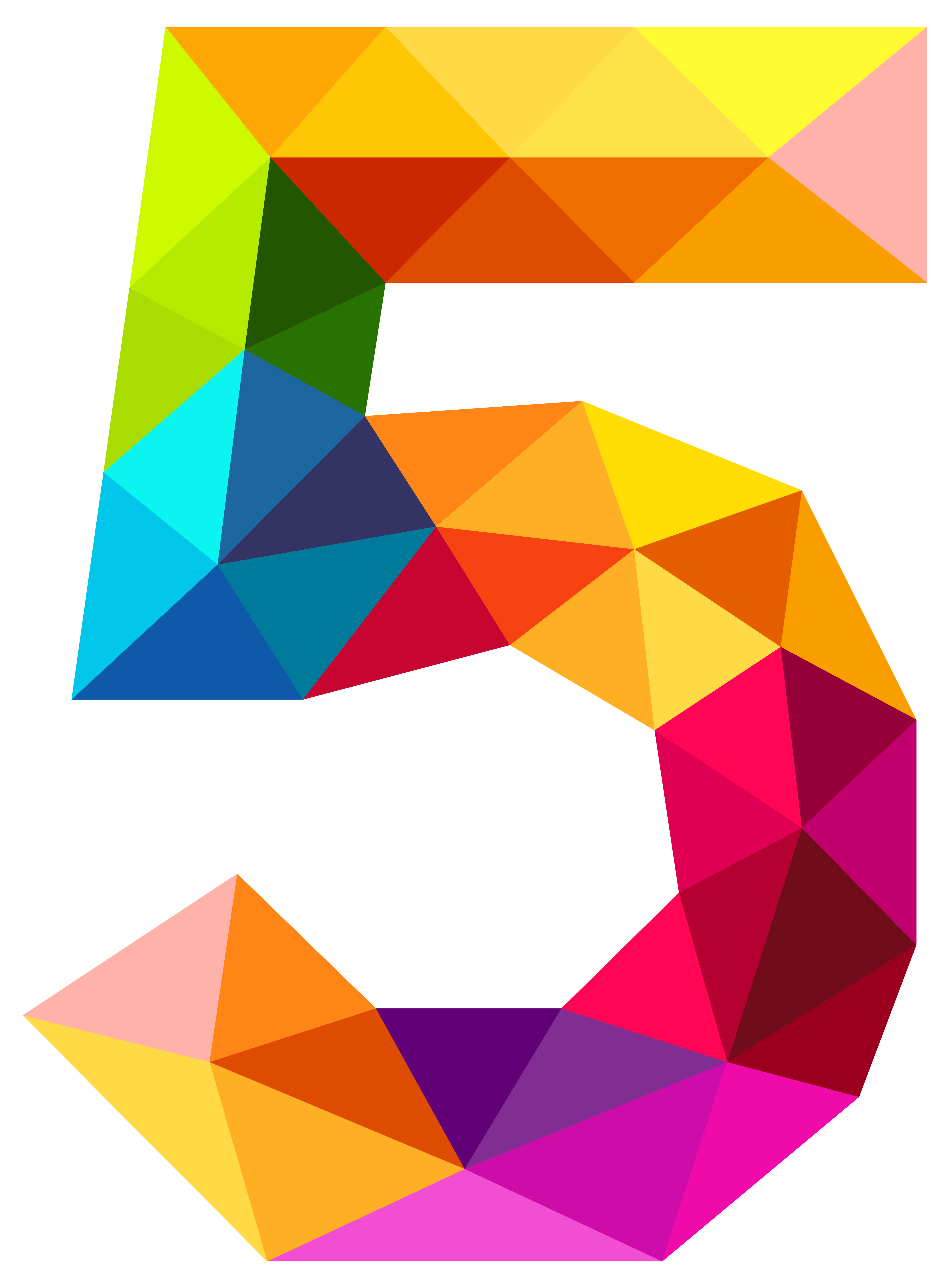 Number 5 transparent png. Colourful triangles five clipart